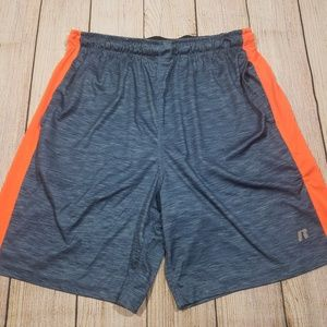 Russell Mens Polyester Athletic Shorts Gray Orange